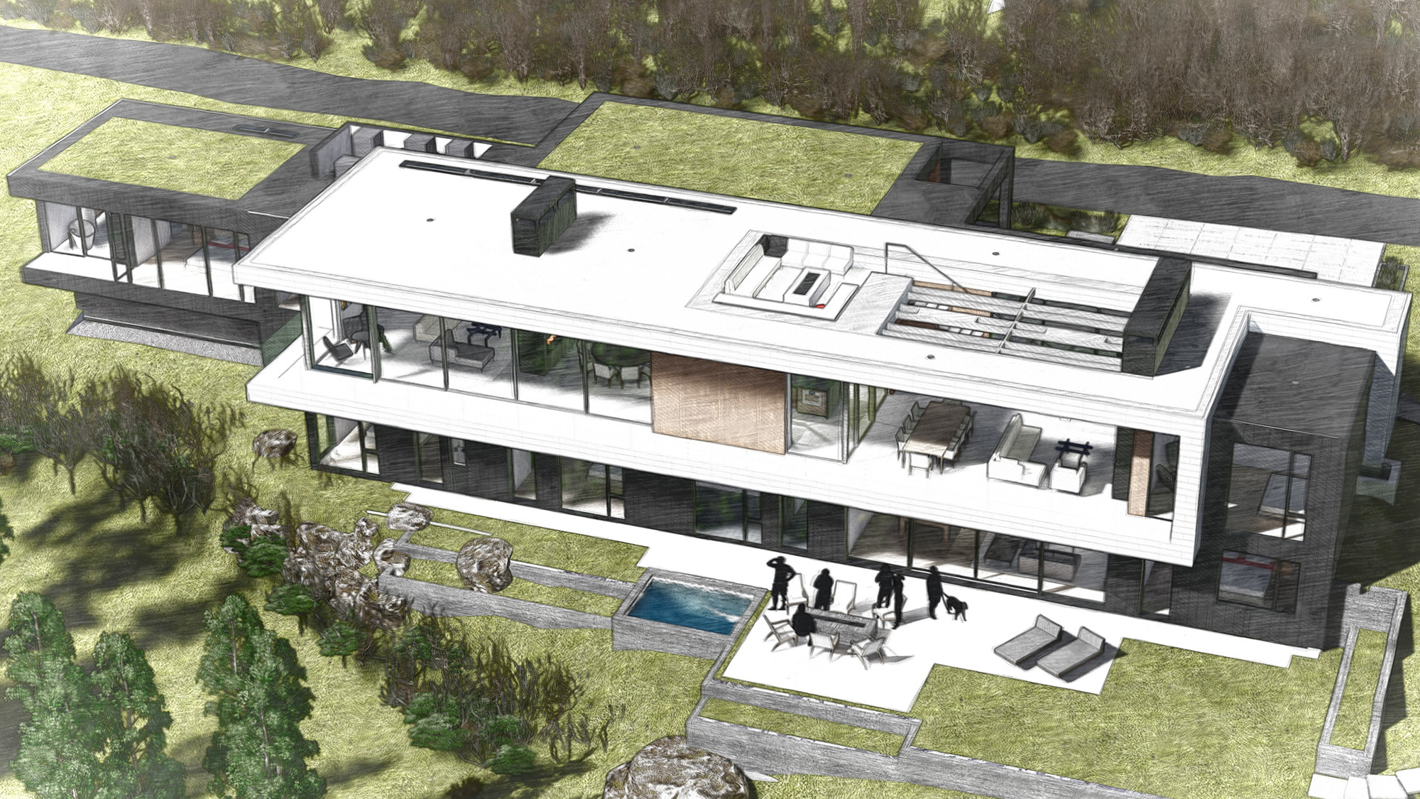 White Stone Exterior Overall Rendering
